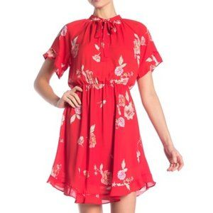 Collective Concepts Tie Front Raglan Red Dress